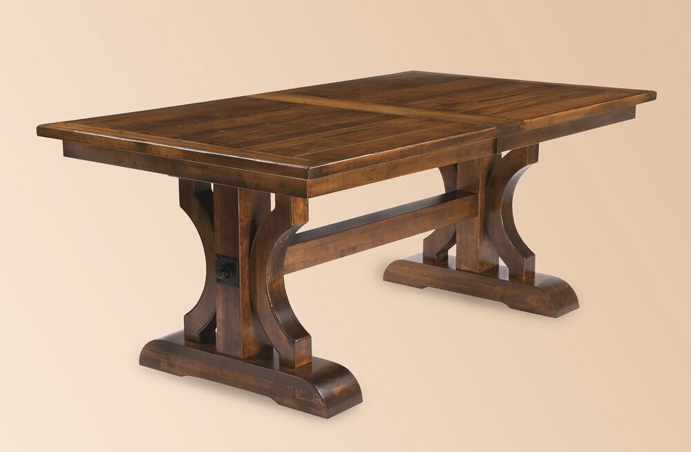 Amish rustic plank trestle dining table rectangle solid Trestle dining table