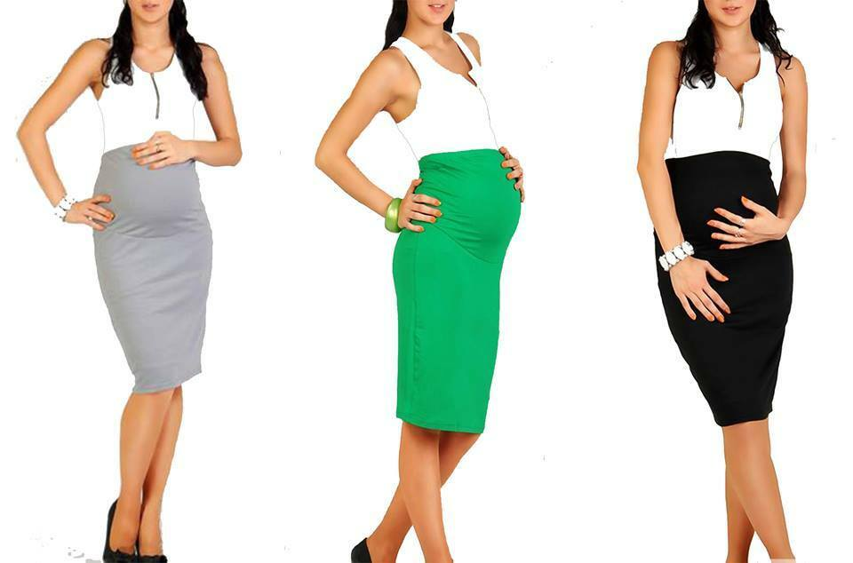 Top Woman Maternity Pencil Skirt Over Bump Pregnancy ...