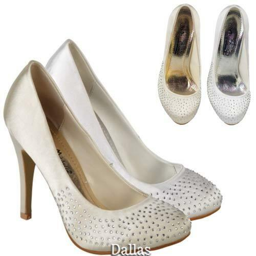 Ladies Wedding Shoes Womens Heels Fancy Bridal White Ivory