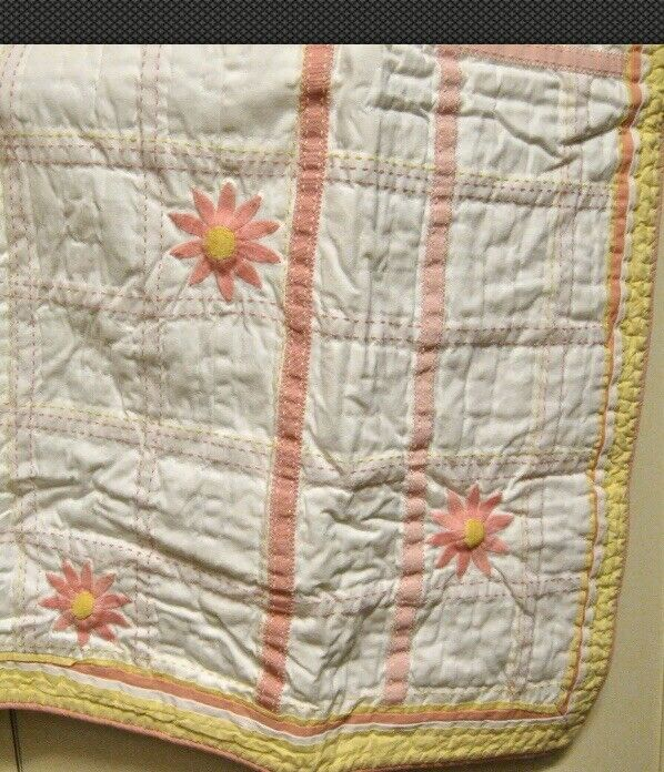 Pottery Barn Kids Anna Twin Quilt Pink Yellow Embroidered