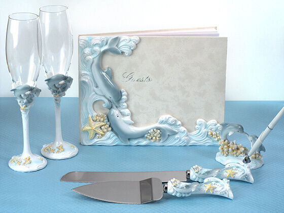 beach theme wedding cake serving set blue dolphin guest book wedding accessory set ebay 11164