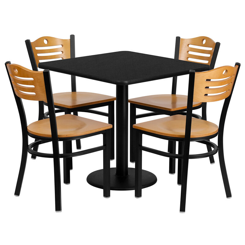 Restaurant table chairs 30 39 39 square black laminate with 4 for Small black table and chairs