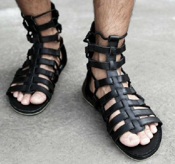 New Mens Runway Custom Shoes Gladiator Leather Strap