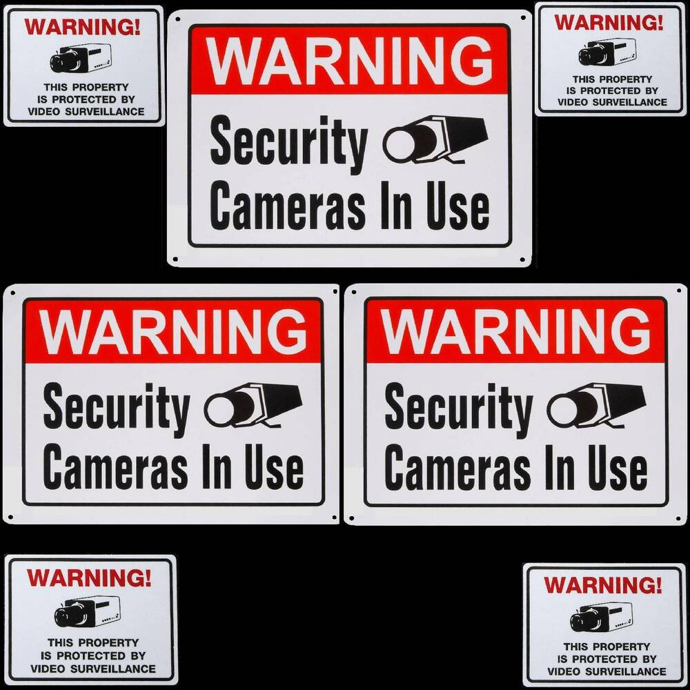 Lot Of 3 Metal Home Security Cctv Video Cameras Warning