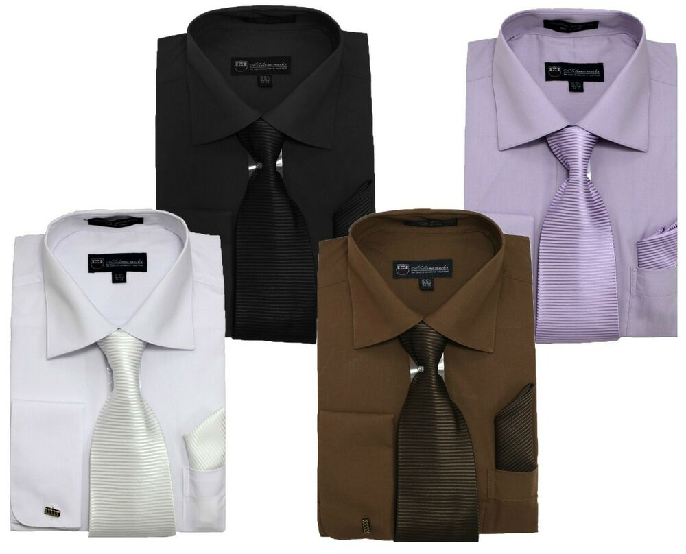 Men 39 s french cuff solid dress shirt w matching tie for Mens shirts with matching ties