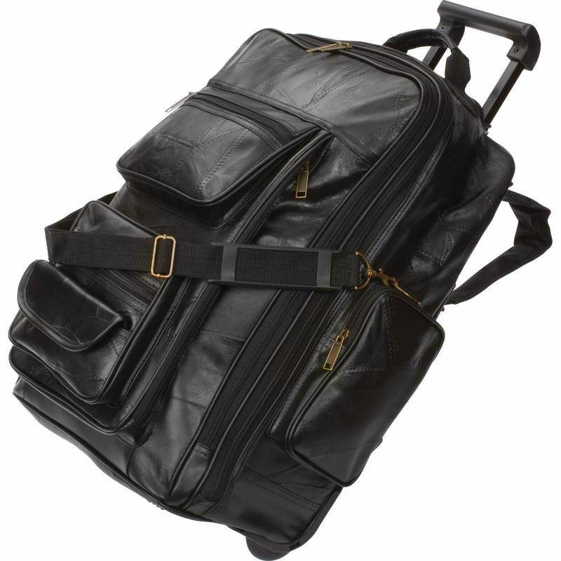 Leather Rolling Carry-On Trolley Backpack, Mens Black Overnight ...