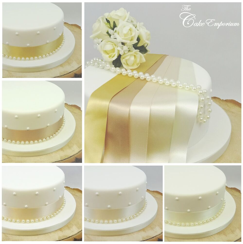 Cake Decor Pearls : SATIN RIBBON 35mm & 8mm PEARLS CAKE DECORATION WEDDING ...