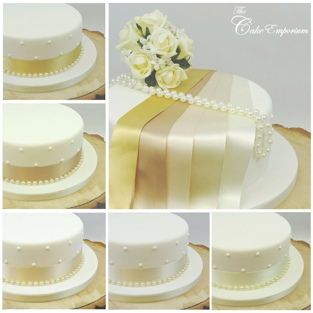SATIN RIBBON 35mm & 8mm PEARLS CAKE DECORATION WEDDING CAKE TOPPER ...