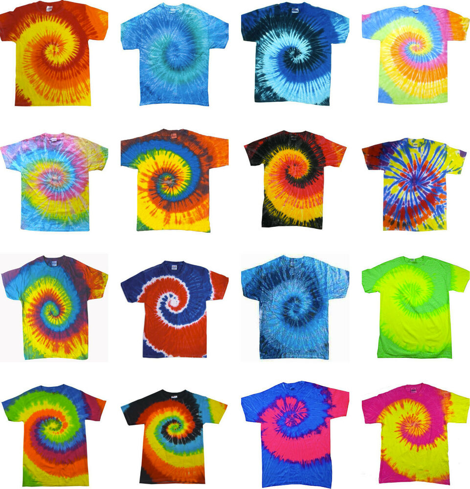 Tie dye t shirts new multi colors spiral variation size youth xs to adult 3xl ebay - Tie and dye colore ...