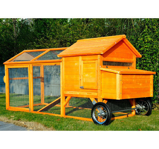 Swing Chicken Tractor Wheels : Portable backyard wooden chicken coop hen house tractor w