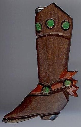 Vintage Carved Wood Cowboy Boot With Paint Highlights