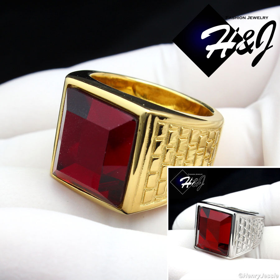 men 39 s stainless steel silver gold ruby ring size 8 12 r81. Black Bedroom Furniture Sets. Home Design Ideas