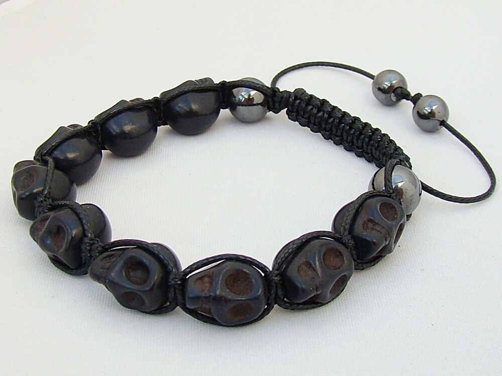 macrame beaded bracelets shamballa macrame black skull hematite beaded adjustable 4287