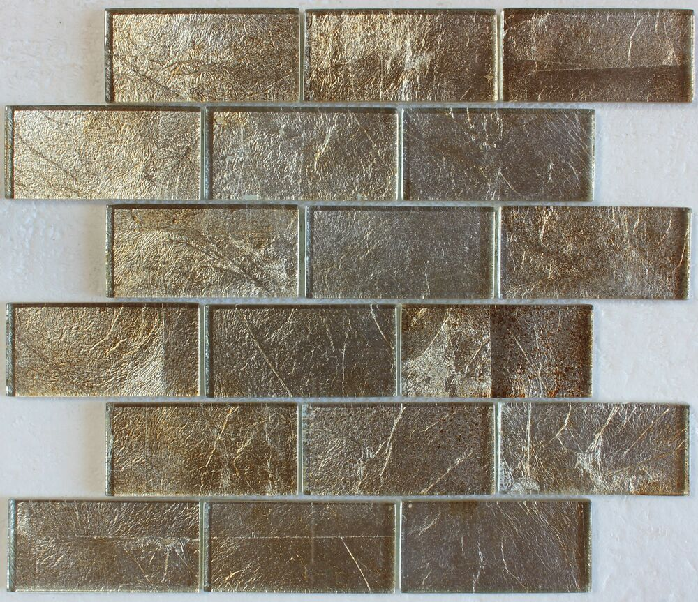 "Kitchen Tiles Ebay: Gold Silver Foil Glass Mosaic Tile 2""X4"", Bath Kitchen Backsplash Wall"