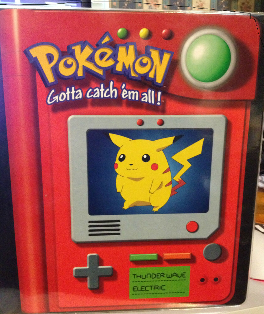 POKEMON 3 RING BINDER WITH PIKACHU ON THE COVER And Card