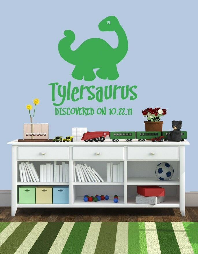 Personalized dinosaur w birthdate boys girls vinyl wall for T rex bedroom decor