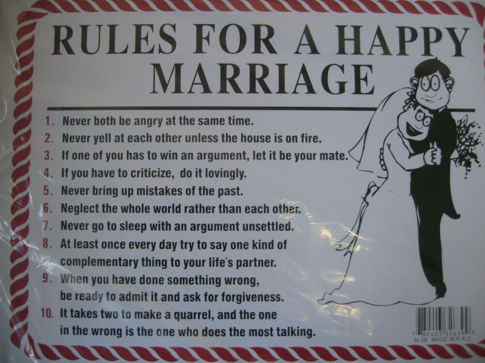 funny humorous plastic sign rules for a happy marriage 12 u0026quot x 9 u0026quot 32639