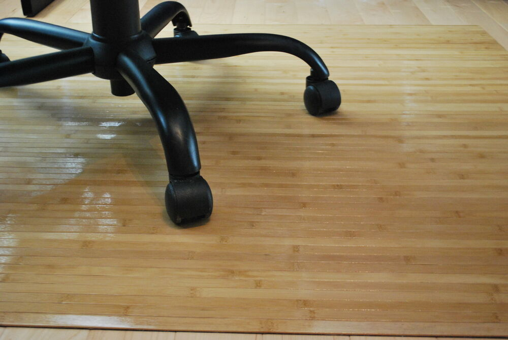 Bamboo Chair Mat Rug Hardwood Floor Protector Office Wood