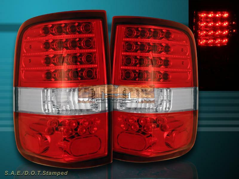 04 08 ford f150 red clear led tail lights 2004 2005 2006 2007 2008. Black Bedroom Furniture Sets. Home Design Ideas