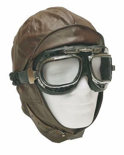 Flyers Flying Hat Biggles Style Dark Brown Leather
