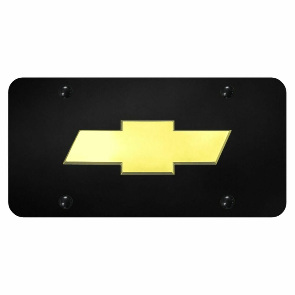 Chevrolet Front License Plate Frame Bowtie Gold Logo Gloss ...