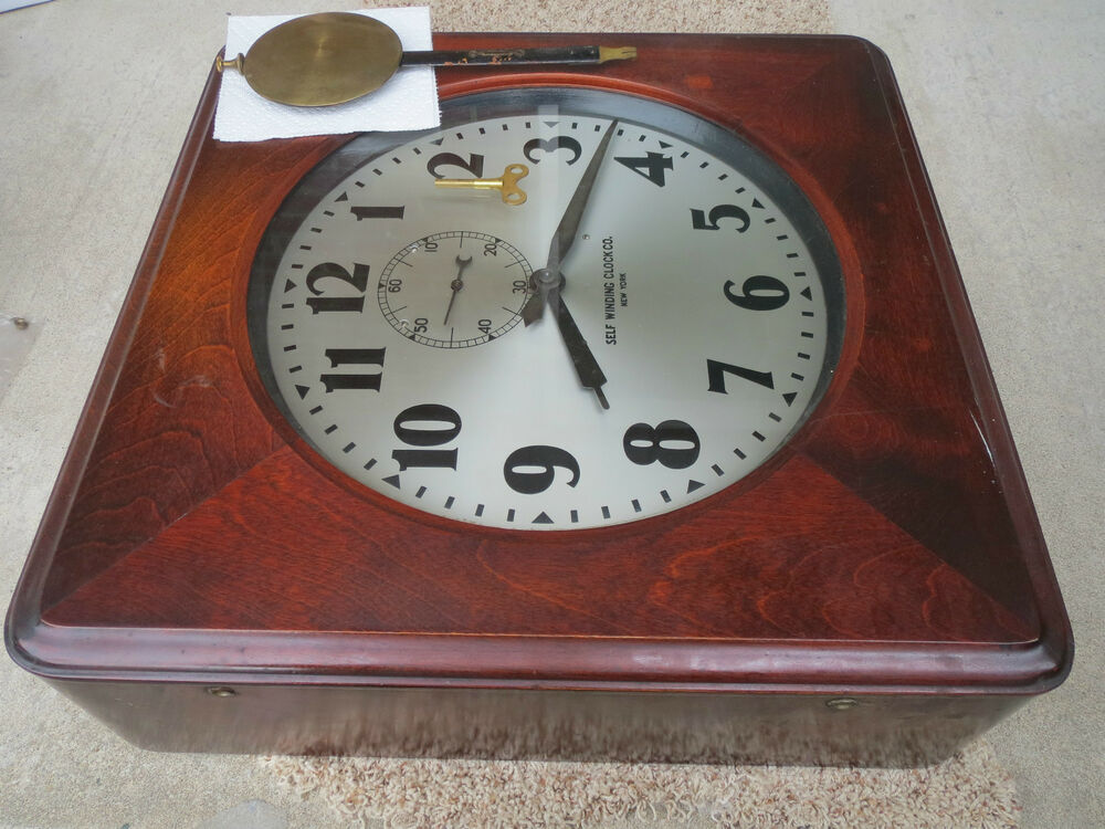 Antique Wall Clock Self Winding Clock Co New York Railroad