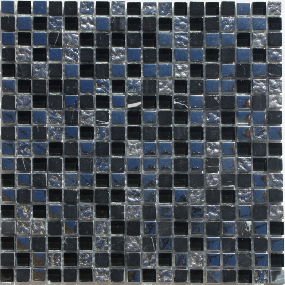 GlassStone Mosaic Tile Sheet 58x58 Silver Glass Nero