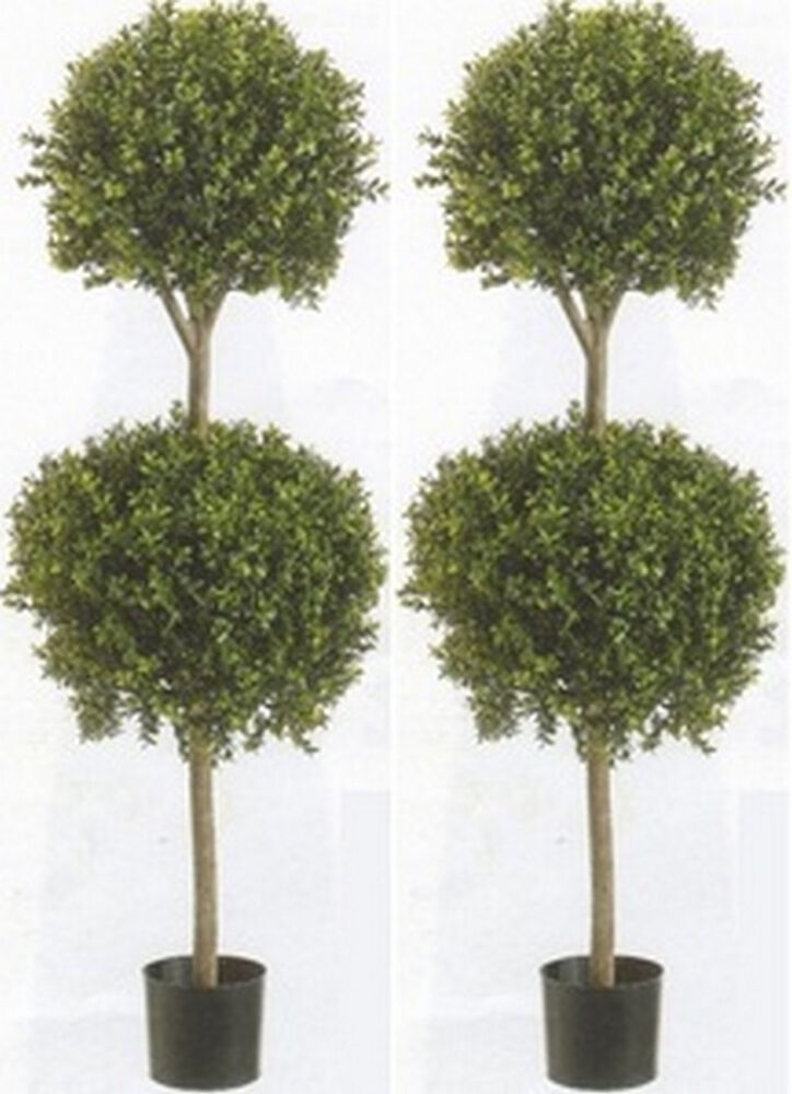 2 artificial 56 boxwood 2 ball topiary tree outdoor bush for Garden topiary trees