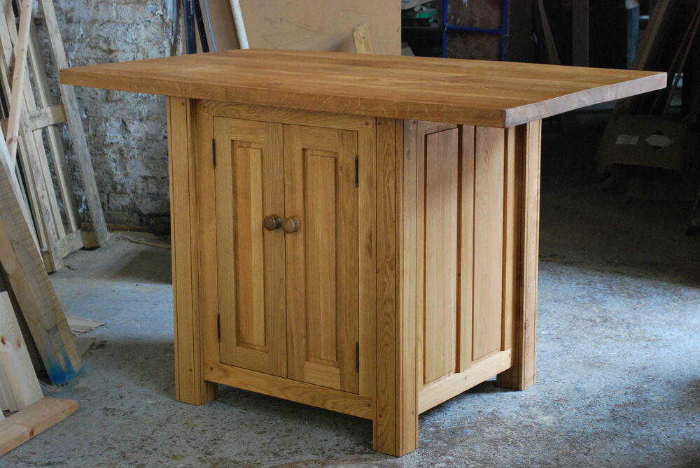CUSTOM MADE HANDMADE SOLID OAK KITCHEN ISLAND / BREAKFAST