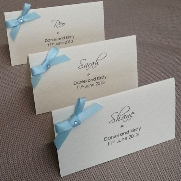 10 x handmade personalised ribbon name place cards