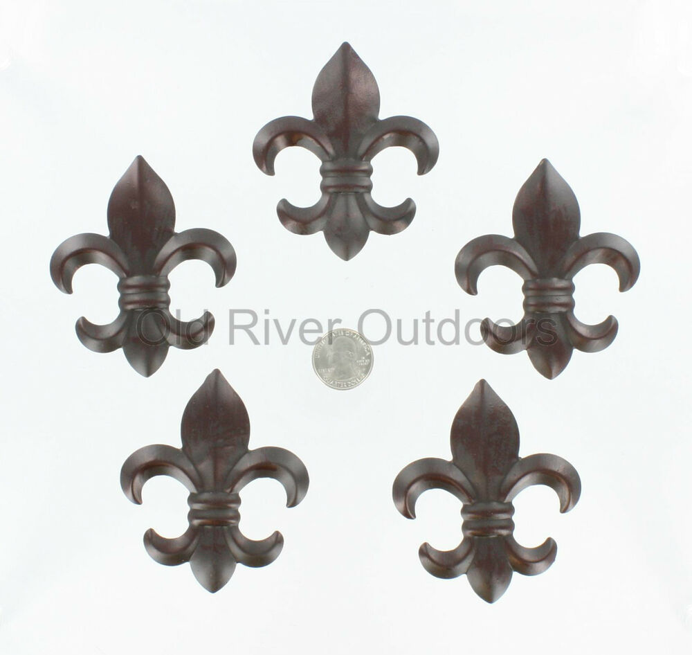 5 Pc Set 3 Small Metal Fleur De Lis Wall Plaques