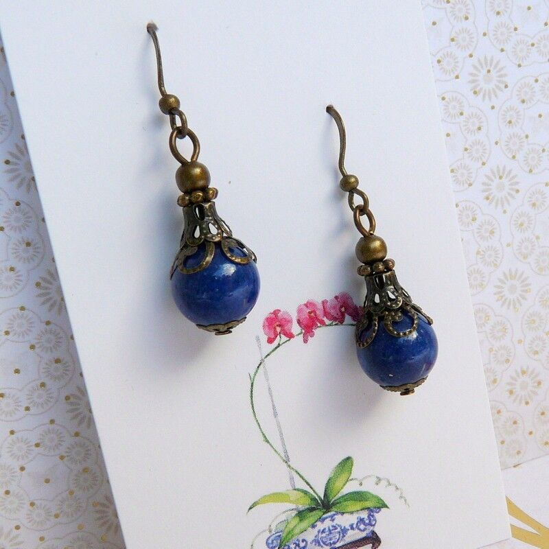 Lapis Lazuli Blue Vintage Victorian Art Nouveau Boho Style Bronze Earrings Ebay