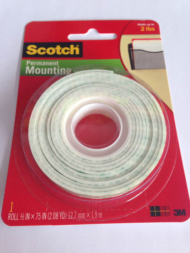 3m 110 scotch double sided foam mounting tape 1 2 in x 75 in x1 roll ebay. Black Bedroom Furniture Sets. Home Design Ideas