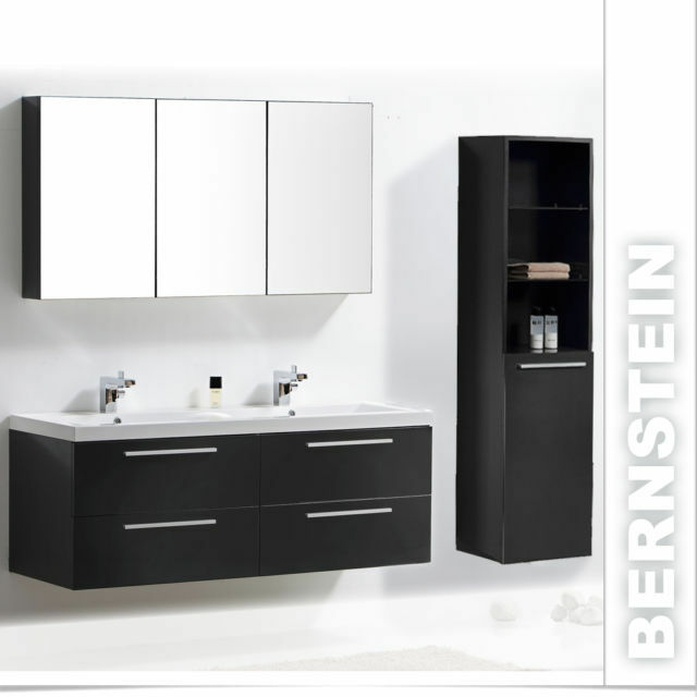 badm bel set doppelwaschbecken badezimmerm bel xxl spiegel wei walnuss 144cm ebay. Black Bedroom Furniture Sets. Home Design Ideas