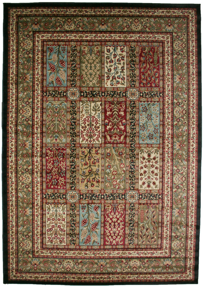 8x10 Area Rug Black Red Blue Green Traditional Garden Eden