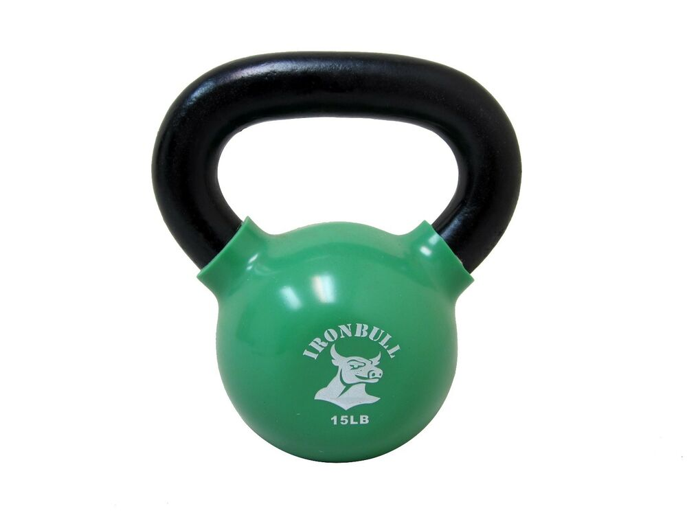 15 Lb Kettlebell Vinyl Coated And Solid Casting Ebay