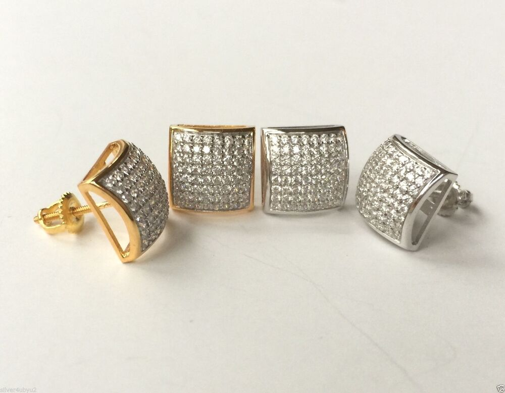 Sterling Silver 925 Earrings Micro Pave Setting Hip Hop
