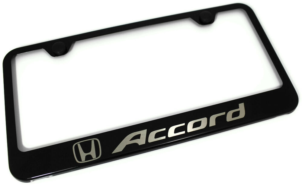 honda accord laser etched frame black gloss license plate. Black Bedroom Furniture Sets. Home Design Ideas