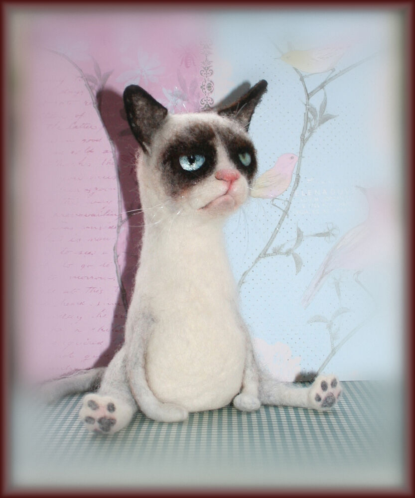 Needle Felted ooak sculpture toy gift Grumpy Cat | eBay
