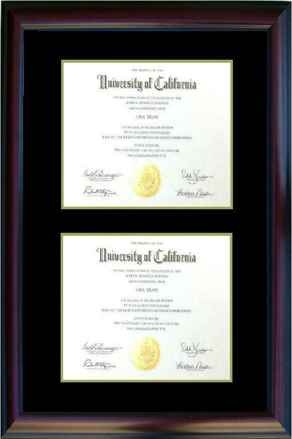Double Diploma Photo Certificate Picture Frame Cherry