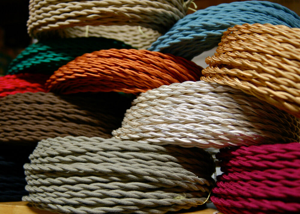 25\' Cotton Cloth Covered Twisted Electrical Wire, Vintage Lamp Cord ...