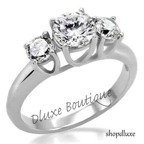 1 50 Ct Round Cut Tri Stone CZ Stainless Steel Engagement Ring Women s Si