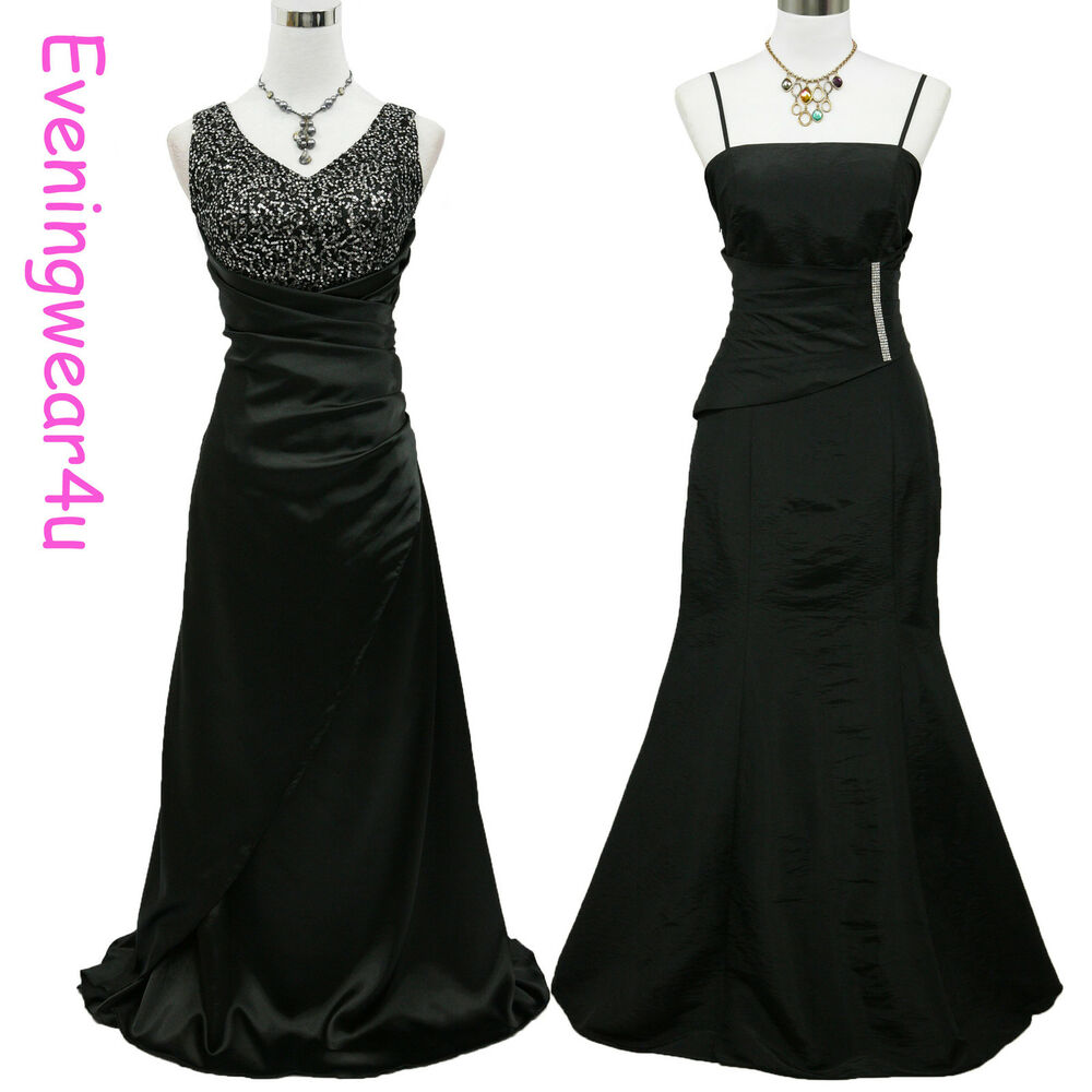 Cherlone satin black ball bridesmaid prom long formal for What shoes to wear with a ball gown wedding dress