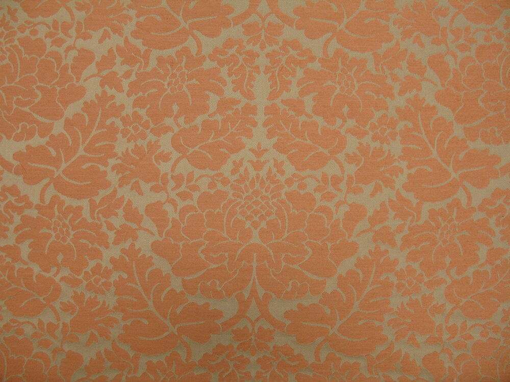 Woven Large Traditional Floral Damask Terracotta Gray