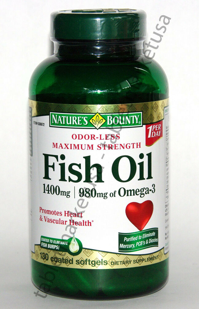 Nature 39 s bounty odor less fish oil 1400mg 980mg of omega 3 for Fish oil 1400 mg