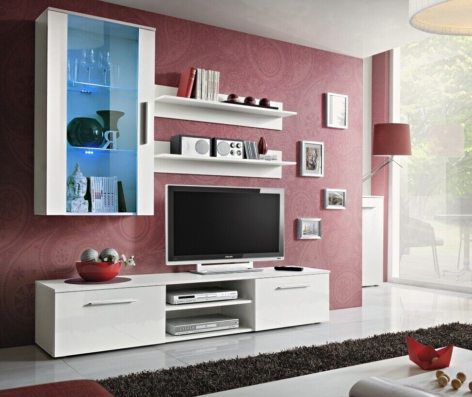 wohnwand anbauwand wohnzimmer schrankwand galino e. Black Bedroom Furniture Sets. Home Design Ideas