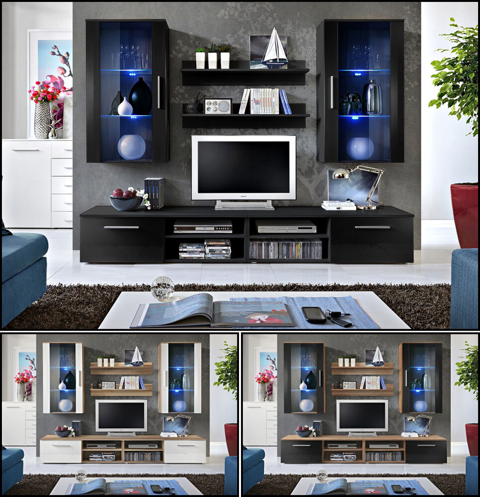wohnwand anbauwand wohnzimmer schrankwand galino g. Black Bedroom Furniture Sets. Home Design Ideas