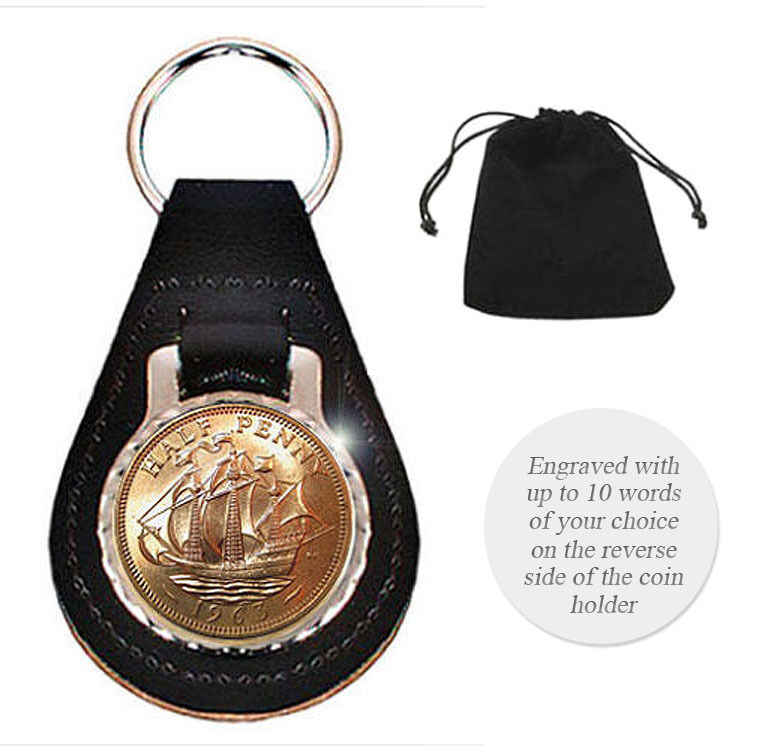 Engraved Personalised Coin Keyring Fob Leather Birthday