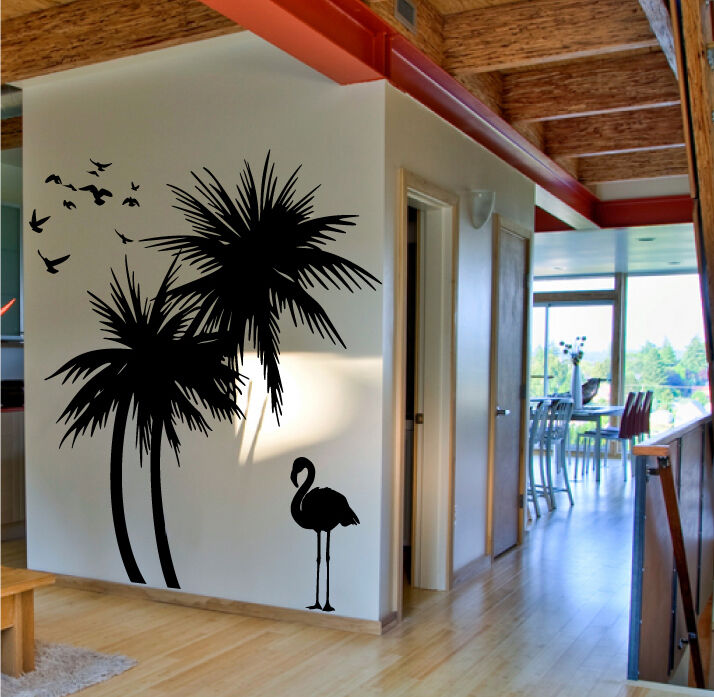 palm trees 6 ft wall decal with flamingo and birds 3 extra flamingos ebay. Black Bedroom Furniture Sets. Home Design Ideas