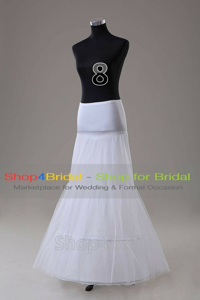 White 2 hoop fishtail mermaid skirt wedding dress for Mermaid slip for wedding dress